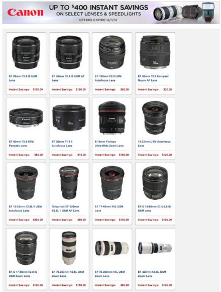 New Canon Lens, Camera, Flash Rebates