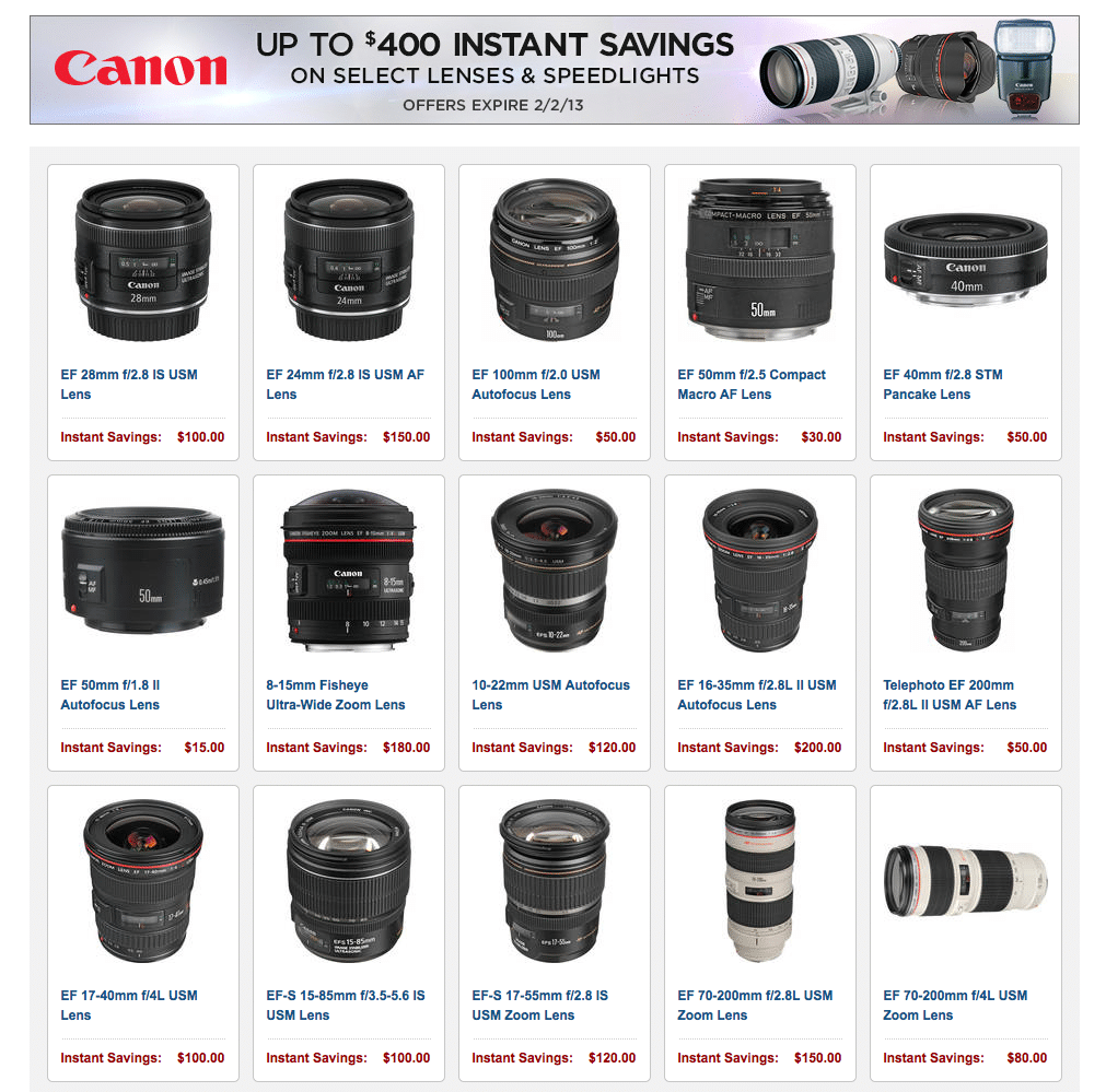 Canon rebate program winter 2013