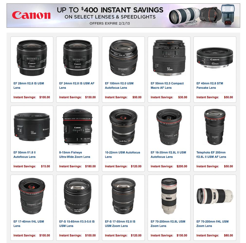 Canon rebate program winter 2013