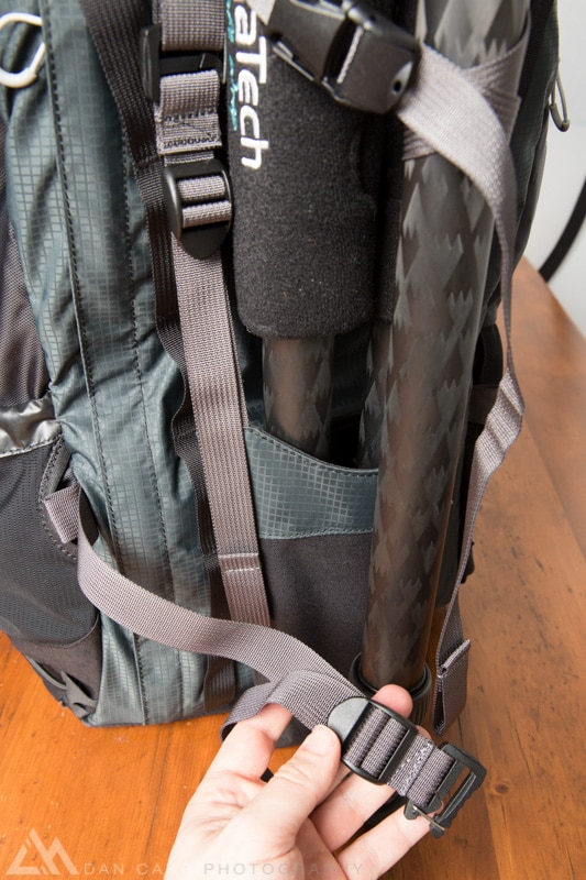 For added stability in vigorous activity you might want to further secure the bottom of the tripod.  For this purpose there is another hidden pocket that holds a horizontal strap.  This one took me an hour before I even realized it was there, well hidden when you don't need it, but always there when you do. Brilliant.