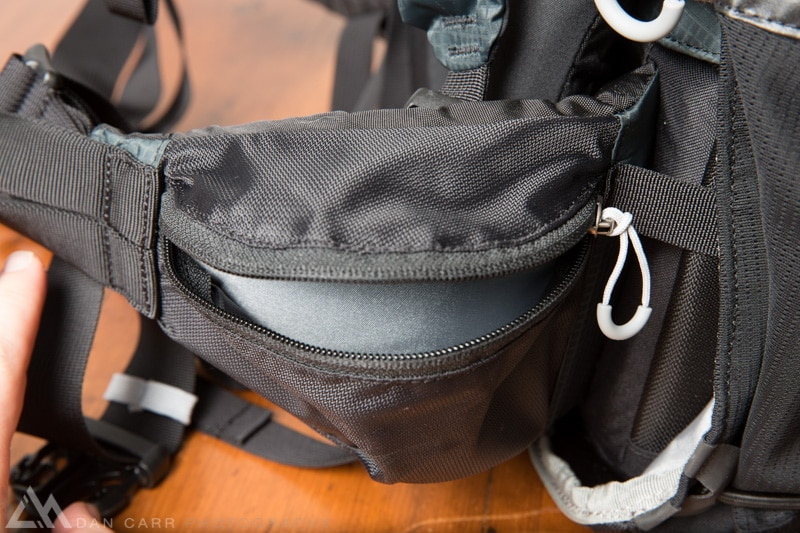 Pocket on the left side of the waist belt sized for essentials like sun screen, granola bars and batteries.