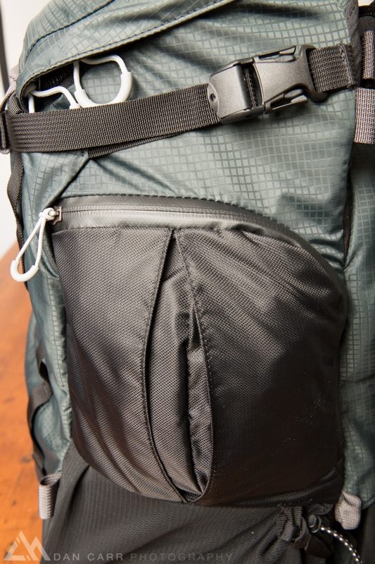 The pocket on the right side is perfect for the included rain cover.