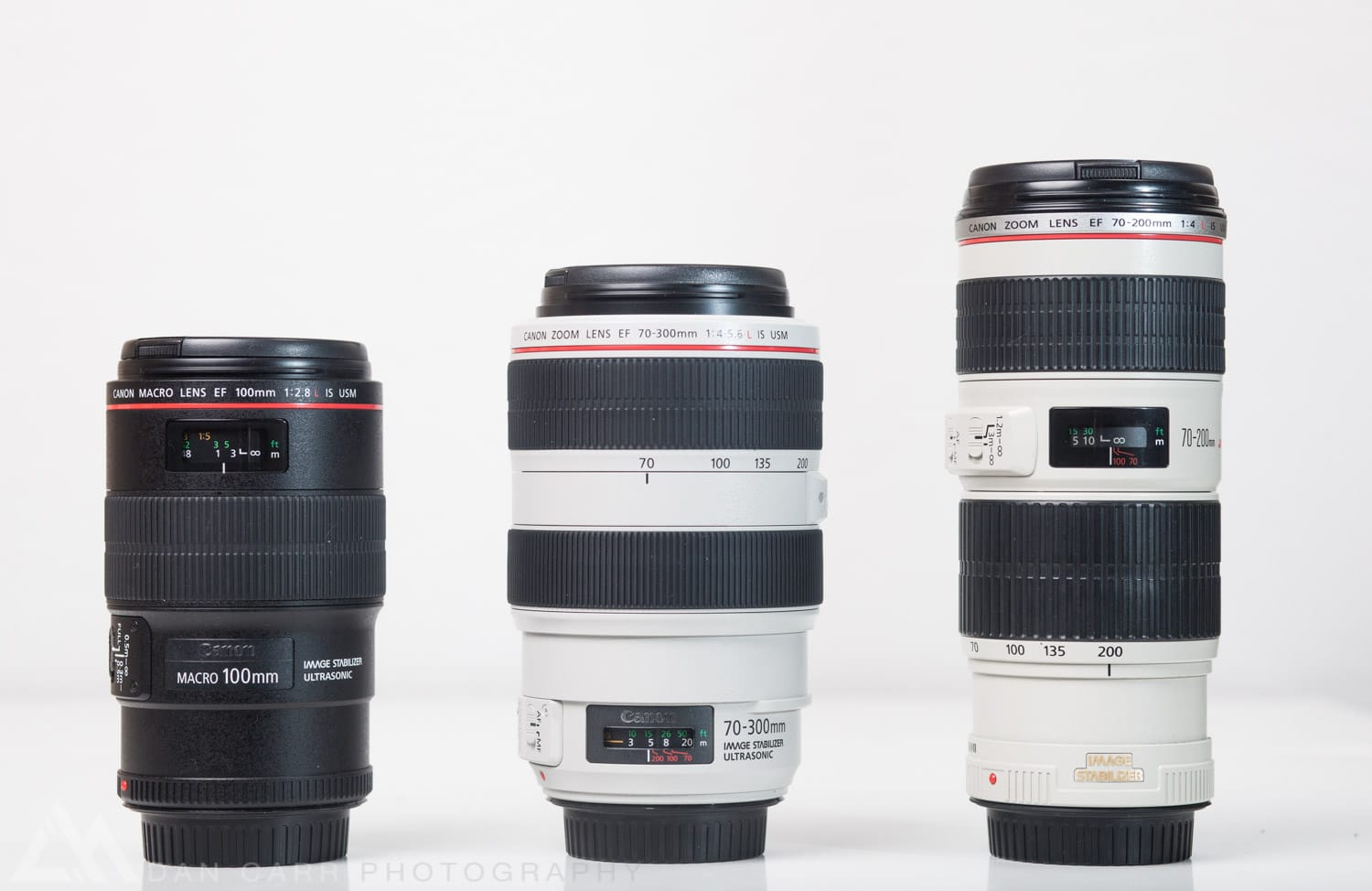 On the right is the 70-200 f/4 that we saw in the previous image. In the middle we've got the 70-300 f/4-5.6.