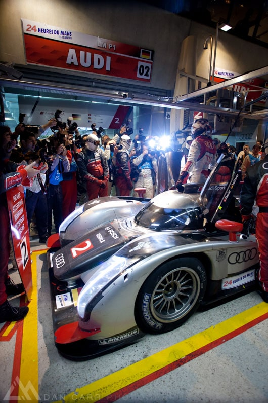 Audi takes pole position at Le Mans in 2011. ISO 2500 with my 5D Mark II. My first full frame camera astounded me at the time!