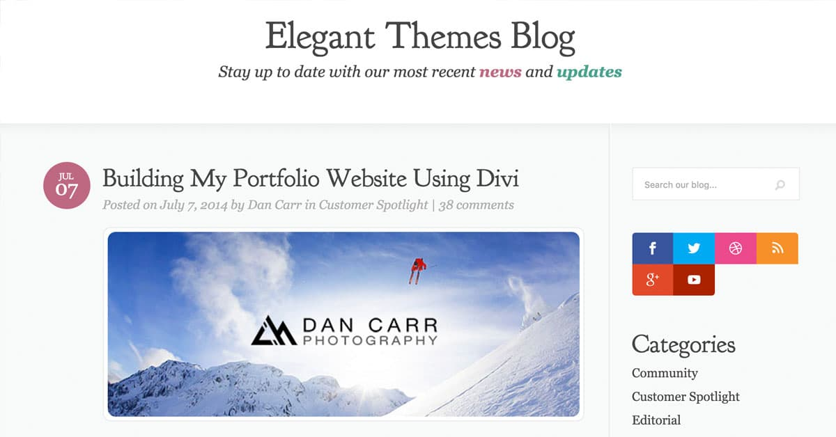 Elegant Themes WordPress Feature
