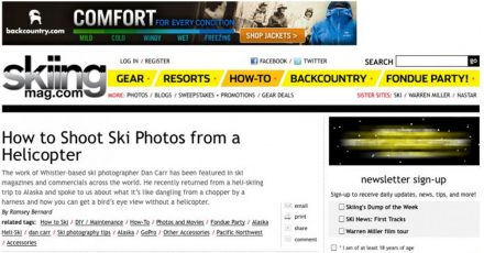 Skiing Magazine Interview – Shooting From a Helicopter
