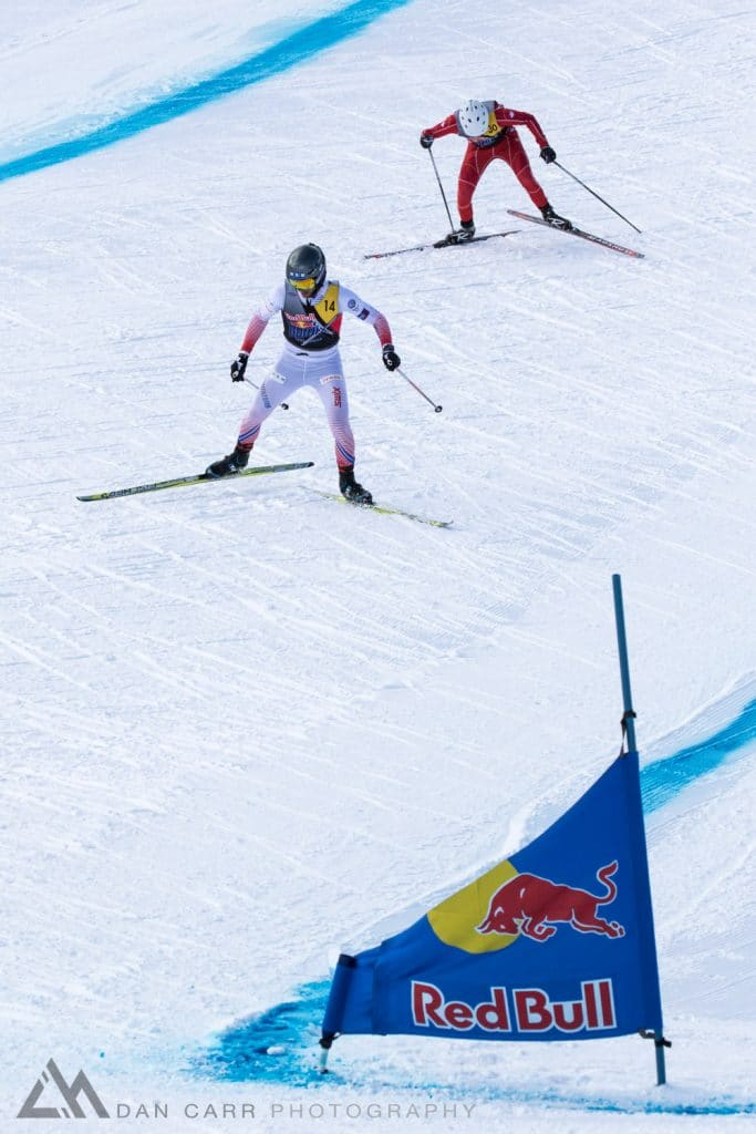 Dusan Kozisek and Matthew Polz race uphill at Red Bull NordiX in Lake Louise, Canada on March 13, 2016.