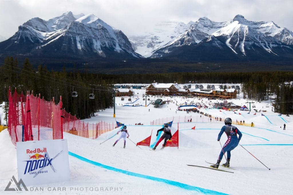 Dusan Kozisek, Benjamin Thompson, and Reese Hannemanat race at Red Bull NordiX in Lake Louise, Canada on March 13, 2016.