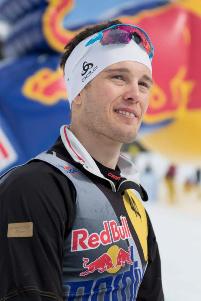 Yannick Lapierre poses for a portrait after winning Red Bull NordiX in Lake Louise, Canada on March 13, 2016.
