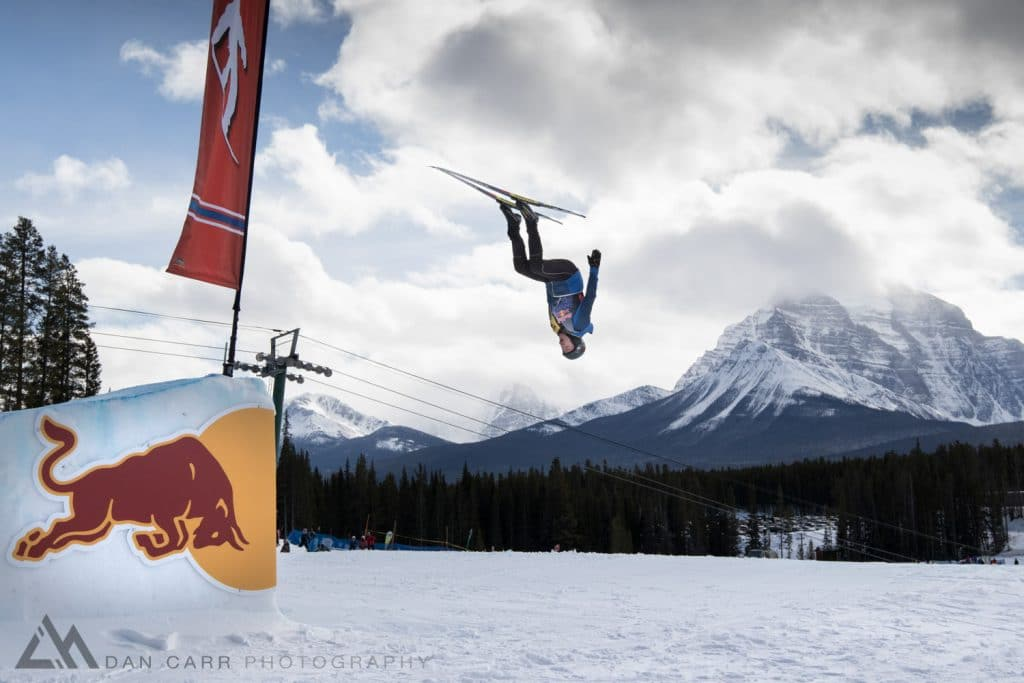 Kentaro Wakatsuki front flips a jump to win the Best Trick contest at Red Bull NordiX in Lake Louise, Canada on March 13, 2016.