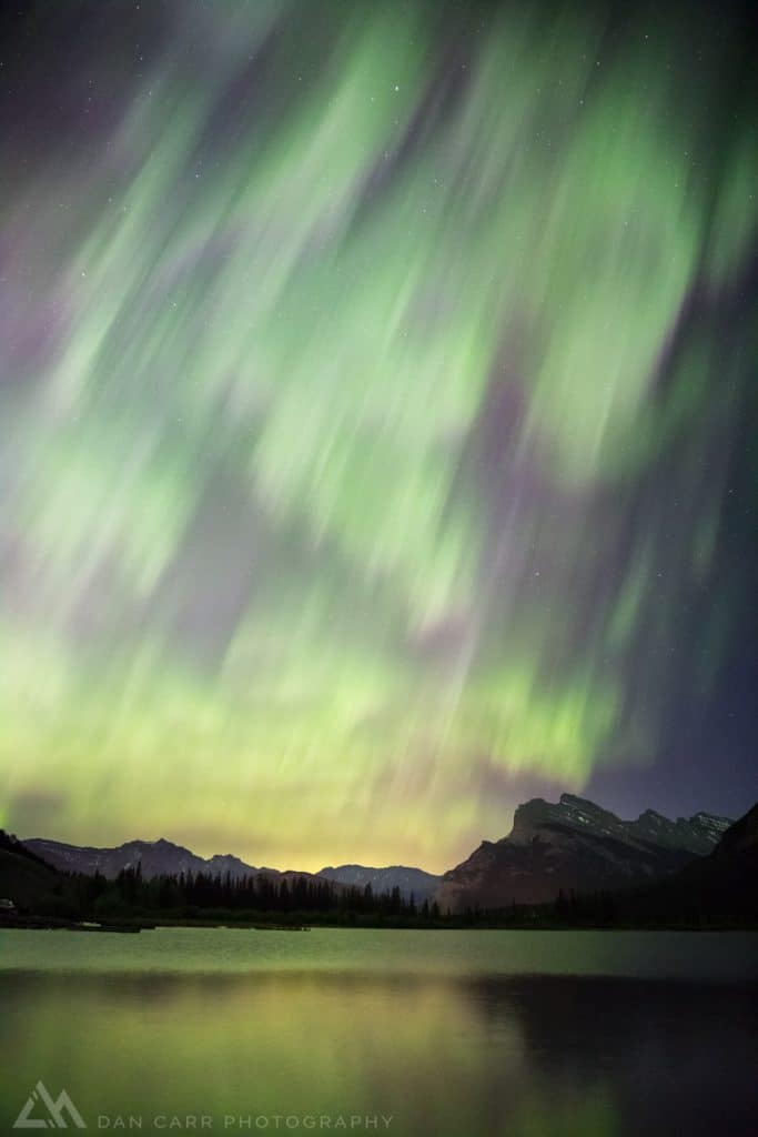 Aurora over Banff and Mt Rundle