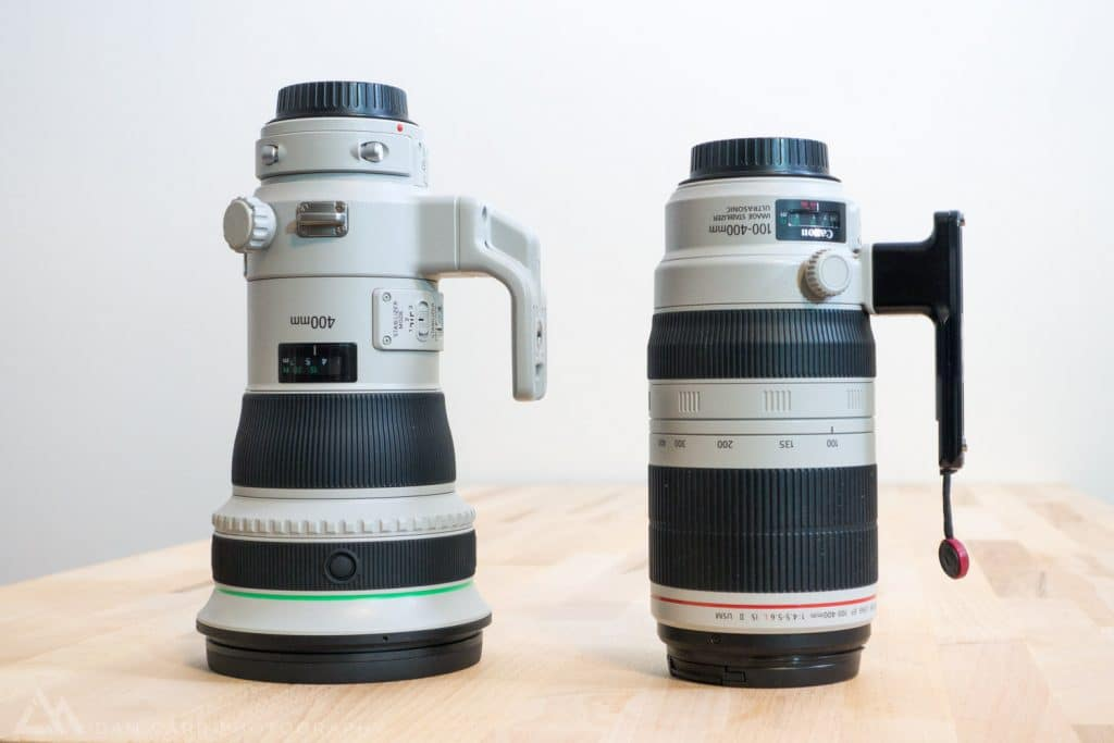 Canon 400mm f/4 DO IS II (left) - Canon 100-400 f/4.5-5.6 L IS II (right).