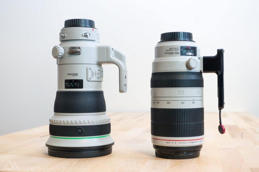 Canon 400mm f/4 DO IS II (left) - Canon 100-400 f/4.5-5.6 L IS II (right).