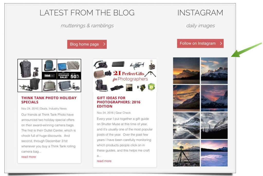 A second gallery with a different design for my website's front page.