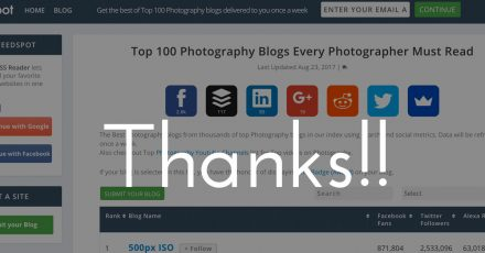 Thank You! Top 100 Photography Blogs!