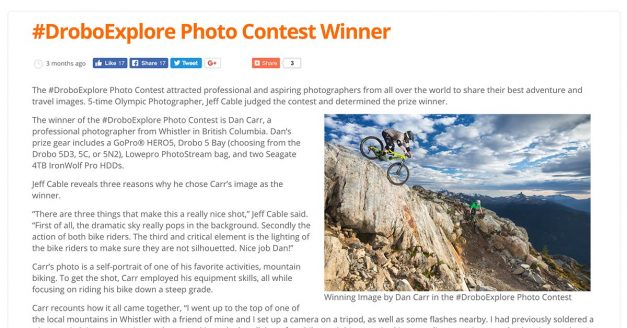 Drobo Explore Adventure Photography Contest Winner