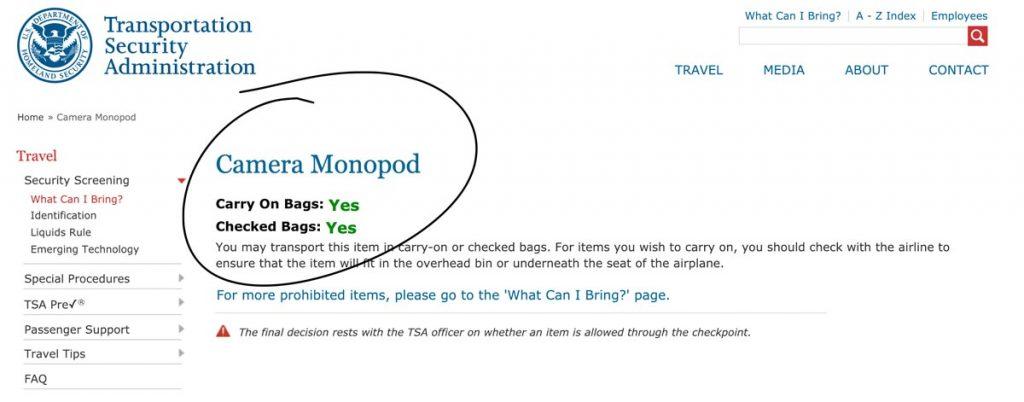 fly with monopod TSA