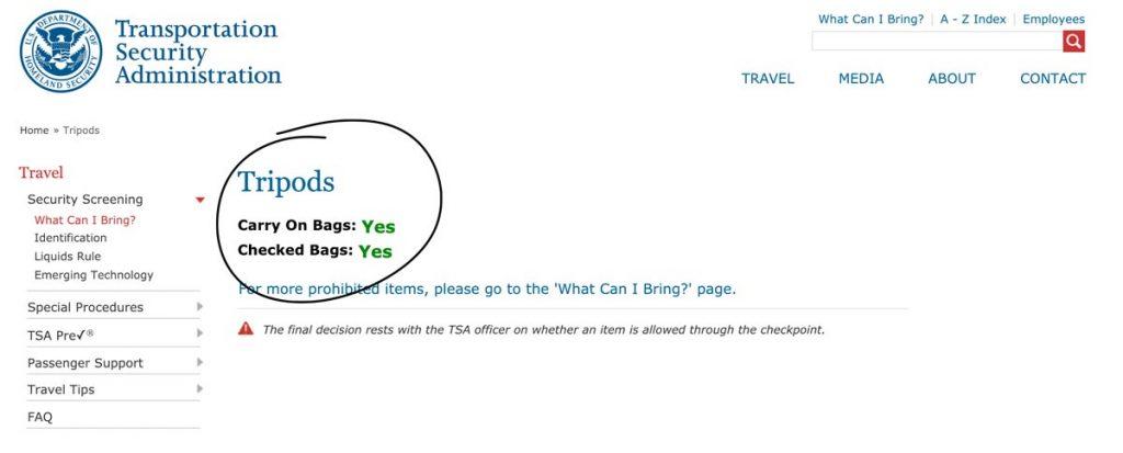 fly with tripod TSA